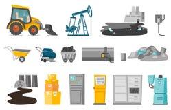 Industrial vector cartoon illustrations set. Industrial illustrations set. Collection of tractor, oil drill, nuclear power plant, wheelbarrow, carriage with Royalty Free Stock Photos