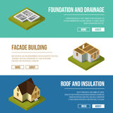 Industrial illustrations set with three banners of building construction stages. Vector isometric illustrations Royalty Free Stock Photography