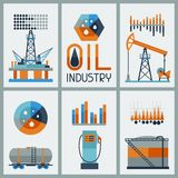 Industrial infographic design with oil and petrol. Icons. Extraction and refinery facilities Royalty Free Stock Image