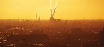 Industrial infrastructure and global warming royalty free stock photos