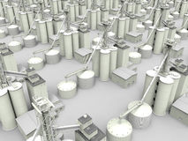 Industrial infrastructure illustration. 3D render illustration of a industrial infrastructure. The silos and tanks are arranged on a rectangular pattern. The Royalty Free Stock Images