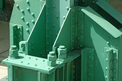 Industrial infrastructure in steel painted background. Industrial infrastructure in steel painted in green background Royalty Free Stock Images