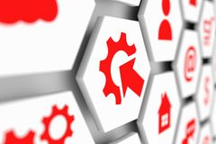 Industrial integration automation modernization business concept. Cell blurred background 3d illustration Stock Image