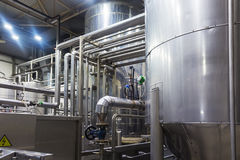 Industrial interior of an alcohol factory Royalty Free Stock Photography