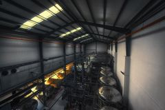 Industrial interior of an alcohol factory Royalty Free Stock Image