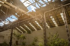 Industrial interior with bright light Royalty Free Stock Image