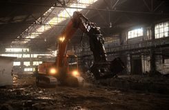 Industrial interior with bulldozer inside Stock Image