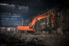 Industrial interior with bulldozer inside Stock Photo