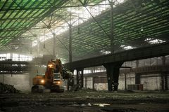 Industrial interior with bulldozer inside Royalty Free Stock Photo
