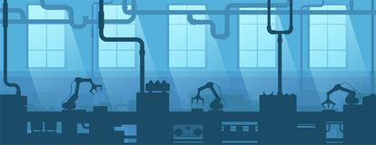 Industrial interior of factory, plant. Silhouette industry enterprise. Manufacturing 4.0. Vector illustration stock illustration
