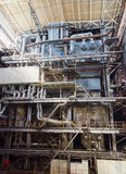 Industrial interior of heat power plant. Royalty Free Stock Photos