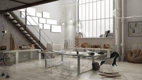 Industrial interior, office design. 3D illustration Royalty Free Stock Photos