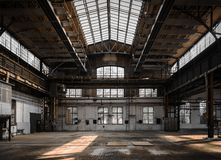 Industrial interior of an old factory Royalty Free Stock Photography