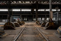 Industrial interior of an old factory Royalty Free Stock Photo