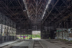 Industrial interior of a old train repair station Stock Photo