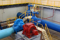 Industrial interior. Water pumping station. Stock Photo