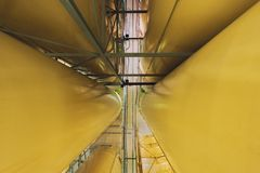Industrial interior with welded silos Stock Photos