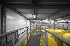 Industrial interior with welded silos Stock Photography