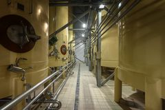 Industrial interior with welded silos Royalty Free Stock Photography