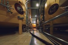Industrial interior with welded silos Stock Image