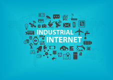 Industrial Internet (IOT) concept with world map and icons of connected devices Stock Images