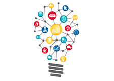 Industrial Internet of things concept represented by light bulb. Concept of disruptive new business ideas. By using new technology Stock Photography