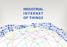 Industrial internet of things  illustration background. World wide web concept. Visualized by globe wireframe and connections between different connected Royalty Free Stock Photo