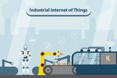 Industrial internet of things. Modern digital factory 4.0 . Vector illustration EPS 10 Royalty Free Stock Photo