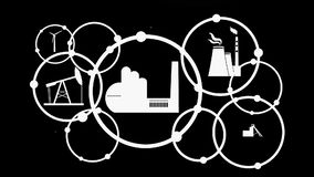 Industrial intro design. Energy, power generation and heavy industry. Video introduction and presentation template. Growth background with circles and integrate vector illustration