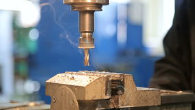 Industrial Iron drill in action. In steel factory stock footage