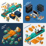 Industrial Isometric Concept. With manufacturing of different types of money mechanical equipment and workers vector illustration Royalty Free Stock Images