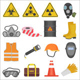 Industrial job work safety equipment flat icons set. Radiation and chemical protection. Royalty Free Stock Image