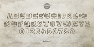 Industrial joke. Industrial style alphabet letters and numbers over cement wall texture. , grungy font type design. carved lettering symbols. construction, rusty vector illustration