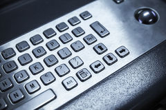 Industrial keyboard made of steel with a trackball Stock Photos