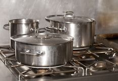 Industrial kitchen. Pots of food in an industrial kitchen Royalty Free Stock Images