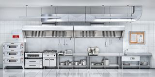 Industrial kitchen. Restaurant kitchen stock illustration