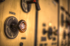 Industrial knob. On a control panel Stock Photo