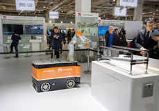 Industrial KUKA robot in booth of Huawei company at CeBIT Royalty Free Stock Photography