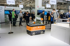 Industrial KUKA robot in booth of Huawei company at CeBIT Royalty Free Stock Images