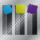 Industrial label set with tire treads. Industrial label set of three with tire treads and color notepapers Stock Image