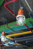 Industrial lamp and HVAC system royalty free stock images
