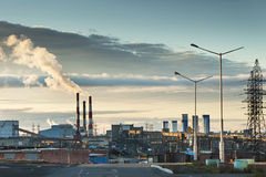 Industrial landscape. The  area of the city in the Arctic Circle. Stock Photo