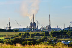 Industrial landscape with chemical plant Royalty Free Stock Image