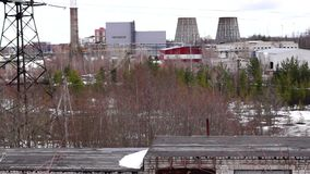 Industrial landscape - city power plant stock footage