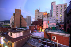 Industrial landscape. Industrial cityscape. All buildings have different heights Stock Photo