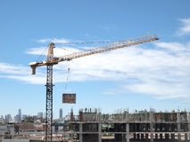 Industrial landscape with cranes Royalty Free Stock Photos