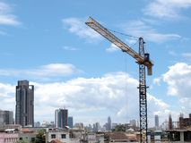 Industrial landscape with cranes Royalty Free Stock Images