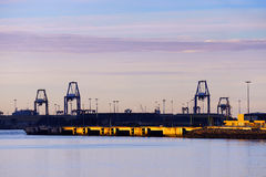 Industrial landscape with cranes in Getxo Royalty Free Stock Photos