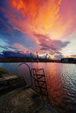 Industrial landscape with cranes in Sestao Stock Image