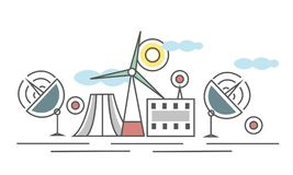 The industrial landscape. Different types of power plants. Power plant and wind power plant. Thin line style vector Stock Photos